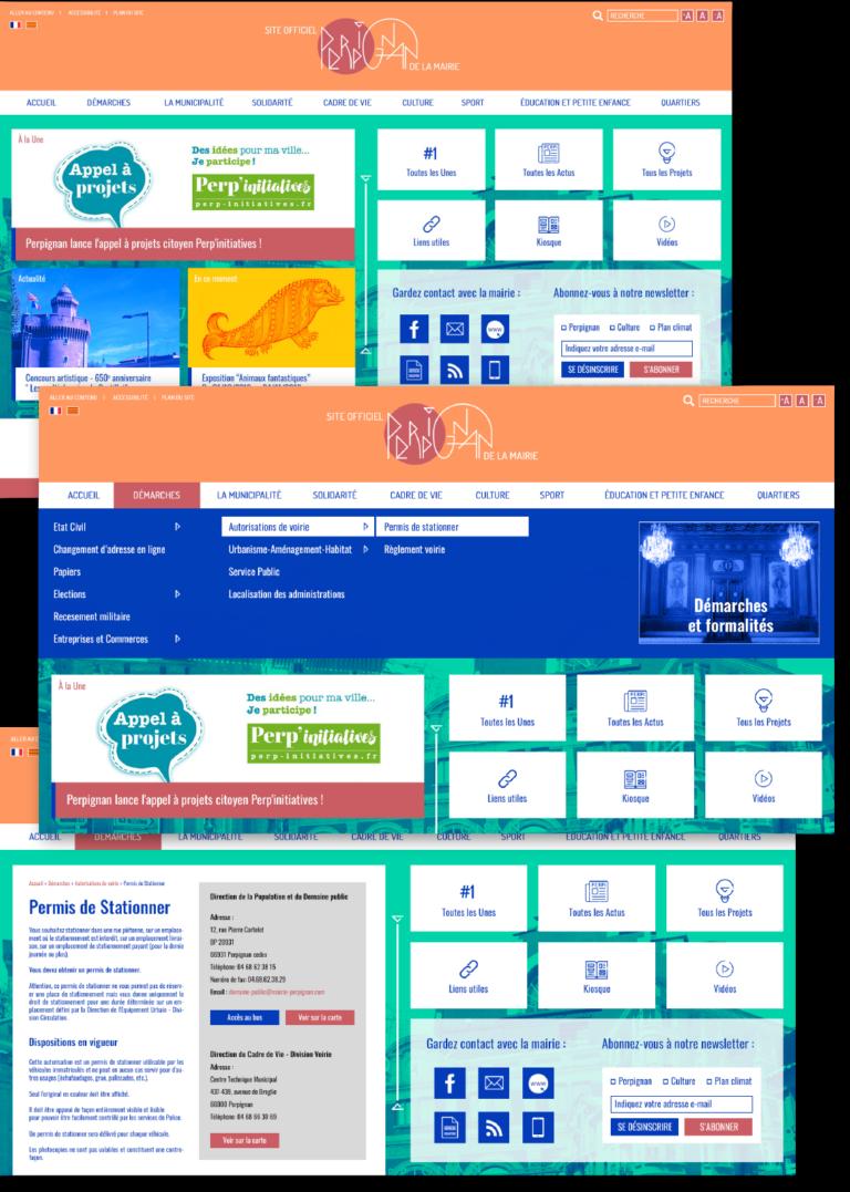 écrans du site de Perpignan